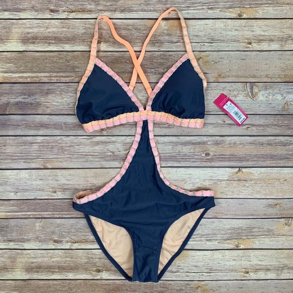 6b3ba2bba4 Xhilaration Swim | Nwt Target Crochet Stitched Blue Monokini | Poshmark